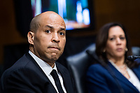 """United States Senator Cory Booker (Democrat of New Jersey), and US Senator Kamala Harris (Democrat of California), are seen during the US Senate Judiciary Committee hearing titled """"Examining Best Practices for Incarceration and Detention During COVID-19,"""" in Dirksen Building in Washington, D.C. on Tuesday, June 2, 2020.<br /> Credit: Tom Williams / Pool via CNP/AdMedia"""