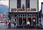 Tourists at Red Onion Saloon in Skagway