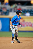 Akron RubberDucks shortstop Ernie Clement (2) leads off second base during a game against the Harrisburg Senators on August 18, 2018 at FNB Field in Harrisburg, Pennsylvania.  Akron defeated Harrisburg 5-1.  (Mike Janes/Four Seam Images)