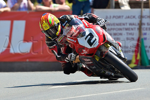07.06.2013. Isle of Man, England. Cameron Donald on his Honda during the Pokerstars Senior TT race at the Isle of Man TT