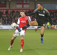 Fleetwood Town's Wes Burns battles with AFC Wimbledon's Terell Thomas<br /> <br /> Photographer Mick Walker/CameraSport<br /> <br /> Emirates FA Cup Third Round - Fleetwood Town v AFC Wimbledon - Saturday 5th January 2019 - Highbury Stadium - Fleetwood<br />  <br /> World Copyright © 2019 CameraSport. All rights reserved. 43 Linden Ave. Countesthorpe. Leicester. England. LE8 5PG - Tel: +44 (0) 116 277 4147 - admin@camerasport.com - www.camerasport.com
