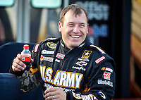 Driver Ryan Newman in the garage area during NASCAR Sprint Cup winter testing at Daytona International Speedway, Daytona Beach, FL January 20, 2011.  (Photo by Brian Cleary/www.bcpix.com)