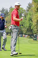 Jon Rahm (ESP) after sinking his putt on 2 during round 4 of the World Golf Championships, Mexico, Club De Golf Chapultepec, Mexico City, Mexico. 3/5/2017.<br /> Picture: Golffile | Ken Murray<br /> <br /> <br /> All photo usage must carry mandatory copyright credit (&copy; Golffile | Ken Murray)
