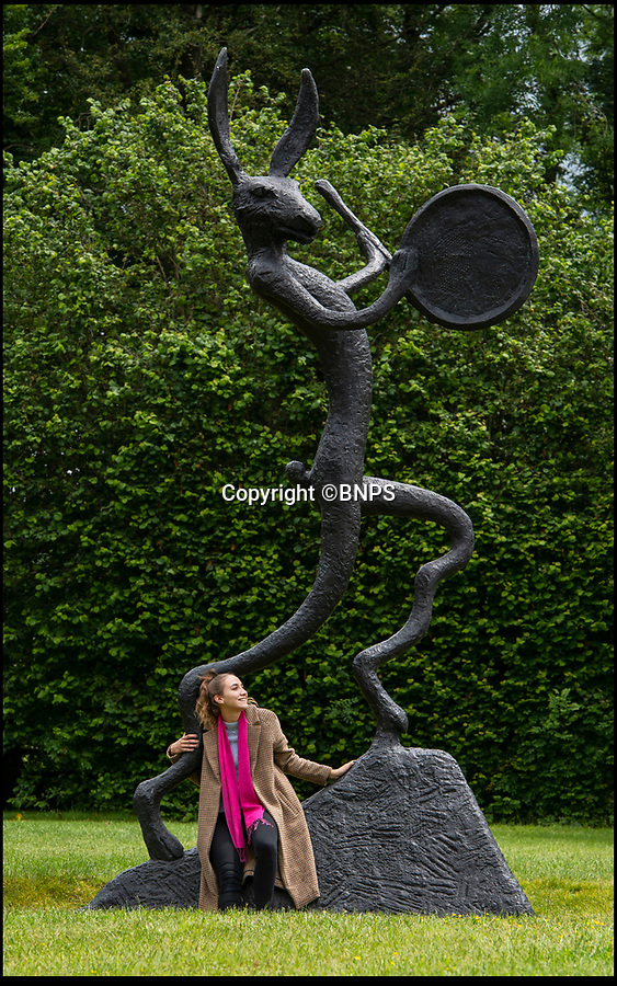 BNPS.co.uk (01202 558833)<br /> Pic: PhilYeomans/BNPS<br /> <br /> Artist Barry Flanagan's monumental large left handed bronze hare has gone on display in the tranquil surroundings of the New Art Centre at Roche Court near Salisbury in Wiltshire.<br /> <br /> The 19th century house and grounds were turned into a art gallery and sculpture park by Lady Bessborough in the 1990's and the verdant grounds showcase some striking contemporary art by famous modern artists.
