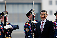 The US President Barack Obama and the Czech President Vaclav Klaus seen during the welcome ceremony at the Prague Airport in Prague, Czech Republic, 5 April 2009.