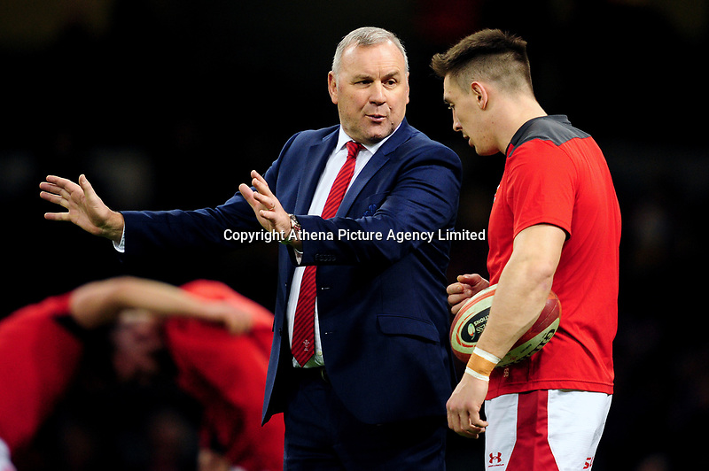 Head Coach Wayne Pivac of Wales gives instructions to Josh Adams of Wales during the pre match warm up for the Guinness Six Nations Championship Round 3 match between Wales and France at the Principality Stadium in Cardiff, Wales, UK. Saturday 22 February 2020