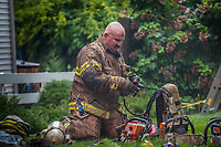 Westerville fire fighters battle a house fire in Uptown Westerville.