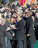 United States President Barack Obama and President Francois Hollande of France greet guests during the State Arrival Ceremony on the South Lawn of the White House in Washington, D.C. on Tuesday, February 11, 2014.<br /> Credit: Ron Sachs / CNP