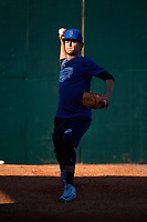 Pensacola Blue Wahoos pitcher Luis Castillo (26) during practice before a game against the Mobile BayBears on April 25, 2017 at Hank Aaron Stadium in Mobile, Alabama.  Mobile defeated Pensacola 3-0.  (Mike Janes/Four Seam Images)