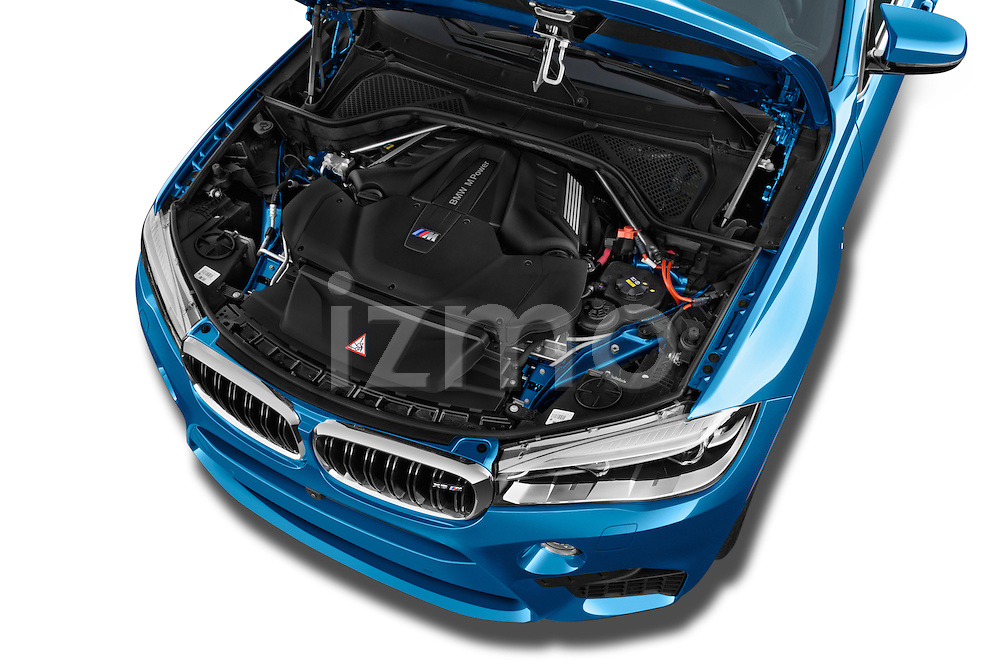Car stock 2015 BMW X6 M 4 Door SUV engine high angle detail view