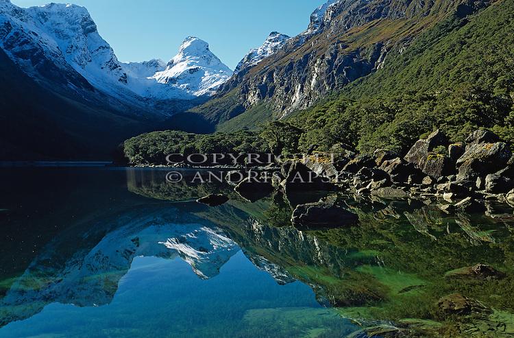 Lake Mackenzie on the Routeburn Track. Fiordland National Park. New Zealand.