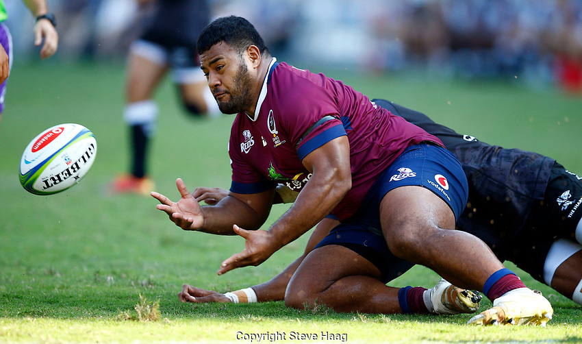 DURBAN, SOUTH AFRICA - APRIL 19: Alex Mafi of The St.George Queensland Reds during the Super Rugby match between Cell C Sharks and Reds at Jonsson Kings Park Stadium on April 19, 2019 in Durban, South Africa. Photo: Steve Haag / stevehaagsports.com
