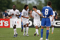 Sebastian Lietget (15) of the USA celebrates a goal.  The US U-17 Men's National Team defeated the Development Academy Select Team 5-3 during day two of the US Soccer Development Academy  Spring Showcase in Sarasota, FL, on May 23, 2009.