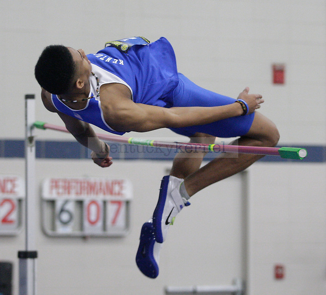 Freshman Todd Nibbs knocks down the bar at the high jump event at Men's and Women's SEC Track and Field meet at Nutter Field House in Lexington, Ky., on Saturday, Feb. 25, 2012. Photo by Tessa Lighty | Staff