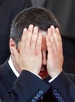 Il Presidente del Consiglio Matteo Renzi alla Festa della Repubblica, a Roma, 2 giugno 2014.<br /> Italian Premier Matteo Renzi covers his face during the Republic Day in Rome, 2 June 2014.<br /> UPDATE IMAGES PRESS/Riccardo De Luca