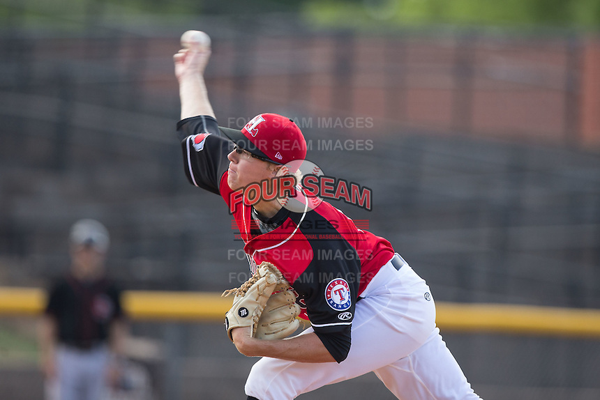 Hickory Crawdads starting pitcher Matt Ball (18) delivers a pitch to the plate against the Delmarva Shorebirds at L.P. Frans Stadium on June 18, 2016 in Hickory, North Carolina.  The Crawdads defeated the Shorebirds 1-0 in game one of a double-header.  (Brian Westerholt/Four Seam Images)