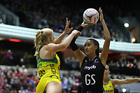 19.01.2019 Silver Ferns Maria Folau in action during the Silver Ferns v Australia netball test match at The Copper Box Arena. Mandatory Photo Credit ©Michael Bradley Photography/Christopher Lee