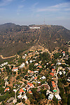 Aerial view of the Hollywood Sign and homes in the Hollywood Hillls