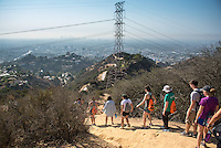 Incoming Occidental College students participate in Oxy Engage with the group L.A. Wilderness and hike Runyon Canyon on Aug. 23, 2016. Oxy Engage is a pre-orientation program that introduces incoming students to the vibrant city of Los Angeles. Upperclassmen facilitators lead trips to experience culture, film, food, nature, social justice, the urban environment, and much more.<br /> (Photo by Marc Campos, Occidental College Photographer)
