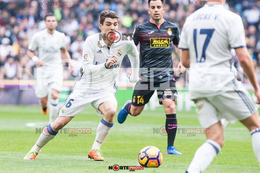 Mateo Kovacic of Real Madrid in action during the match of La Liga between Real Madrid and RCE Espanyol at Santiago Bernabeu  Stadium  in Madrid , Spain. February 18, 2016. (ALTERPHOTOS/Rodrigo Jimenez) /Nortephoto.com