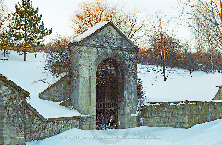 A typical entrance to an underground entrance in Tokaj: a sculptured door front and an wrought iron gate. Oremus is owned by the Alvarez family that also owns Vega Sicilia in Spain It is managed by Andras Bacso. Credit Per Karlsson BKWine.com
