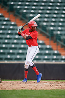 Roberto Martinez (5) at bat during the Dominican Prospect League Elite Underclass International Series, powered by Baseball Factory, on July 21, 2018 at Schaumburg Boomers Stadium in Schaumburg, Illinois.  (Mike Janes/Four Seam Images)