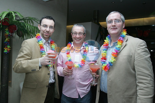 Graham O'Rourke, Mark Morgan and Dermot Sourin at the Drogheda Chamber D Hotel Hawaiian Tropical Night networking event..Photo: Fran Caffrey/ Newsfile.