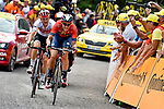 Dylan Teuns (BEL) Bahrain-Merida and Giulio Ciccone (ITA) Trek-Segafredo battle up La Planche des Belles Filles at the end of Stage 6 of the 2019 Tour de France running 160.5km from Mulhouse to La Planche des Belles Filles, France. 11th July 2019.<br /> Picture: Serge Waldbillig | Cyclefile<br /> All photos usage must carry mandatory copyright credit (© Cyclefile | Serge Waldbillig)