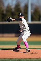 Wake Forest Demon Deacons starting pitcher Parker Dunshee (36) in action against the Virginia Tech Hokies at Wake Forest Baseball Park on March 7, 2015 in Winston-Salem, North Carolina.  The Hokies defeated the Demon Deacons 12-7 in game one of a double-header.   (Brian Westerholt/Four Seam Images)