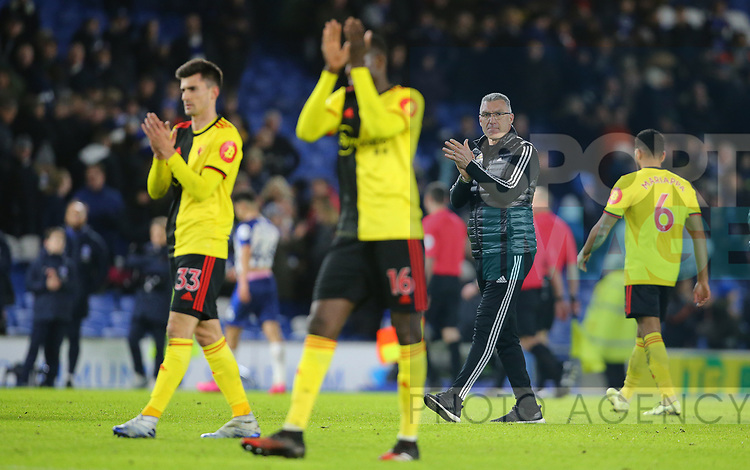 Watford's head coach Nigel Pearson applauds the fans after the Premier League match at the American Express Community Stadium, Brighton and Hove. Picture date: 8th February 2020. Picture credit should read: Paul Terry/Sportimage