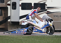 Apr. 26, 2013; Baytown, TX, USA: NHRA pro stock motorcycle rider Adam Arana during qualifying for the Spring Nationals at Royal Purple Raceway. Mandatory Credit: Mark J. Rebilas-