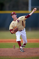 Boston College Eagles relief pitcher Dan Metzdorf (36) delivers a pitch during a game against the Central Michigan Chippewas on March 8, 2016 at North Charlotte Regional Park in Port Charlotte, Florida.  Boston College defeated Central Michigan 9-3.  (Mike Janes/Four Seam Images)