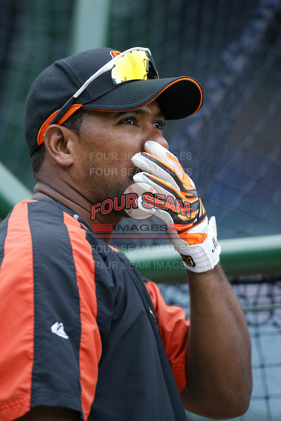 Miguel Tejada of the Baltimore Orioles during batting practice before a game from the 2007 season at Angel Stadium in Anaheim, California. (Larry Goren/Four Seam Images)