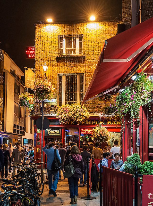 A view of the Temple Bar section of Dublin, Ireland, on a busy Friday night in September.