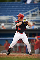 Batavia Muckdogs designated hitter Ben Fisher (36) at bat during a game against the Williamsport Crosscutters on August 3, 2017 at Dwyer Stadium in Batavia, New York.  Williamsport defeated Batavia 2-1.  (Mike Janes/Four Seam Images)