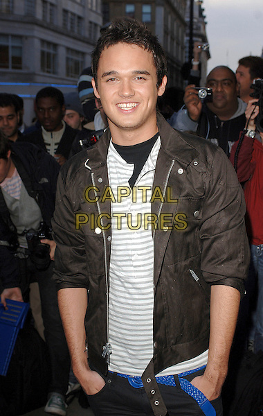 GARETH GATES.attending the LK High Street Fashion Awards, Cafe de Paris, London, England, 14th May 2007..half length brown bomber jacket grey and white striped top.CAP/BEL.©Tom Belcher/Capital Pictures.