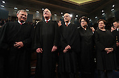 Chief Justice John Roberts (L) and Supreme Court Justices (2L-R) Anthony Kennedy, Stephen G. Breyer, Sonia Sotomayor and Elena Kagan arrive for US President Donald J. Trump's first address to a joint session of Congress from the floor of the House of Representatives in Washington, DC, USA, 28 February 2017.  Traditionally the first address to a joint session of Congress by a newly-elected president is not referred to as a State of the Union.<br /> Credit: Jim LoScalzo / Pool via CNP