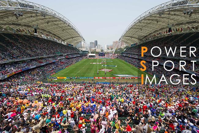 Action on Day 2 of the 2012 Cathay Pacific / HSBC Hong Kong Sevens at the Hong Kong Stadium in Hong Kong, China on 24th March 2012. Photo © Manuel Queimadelos / The Power of Sport Images