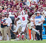 Florida State wide receiver George Campbell keeps an eye on North Carolina State cornerback Jonathan Alston as he makes a reception in the first half of an NCAA college football game in Tallahassee, Fla., Saturday, Sept. 23, 2017.  NC State defeated Florida State 27-21. (AP Photo/Mark Wallheiser)