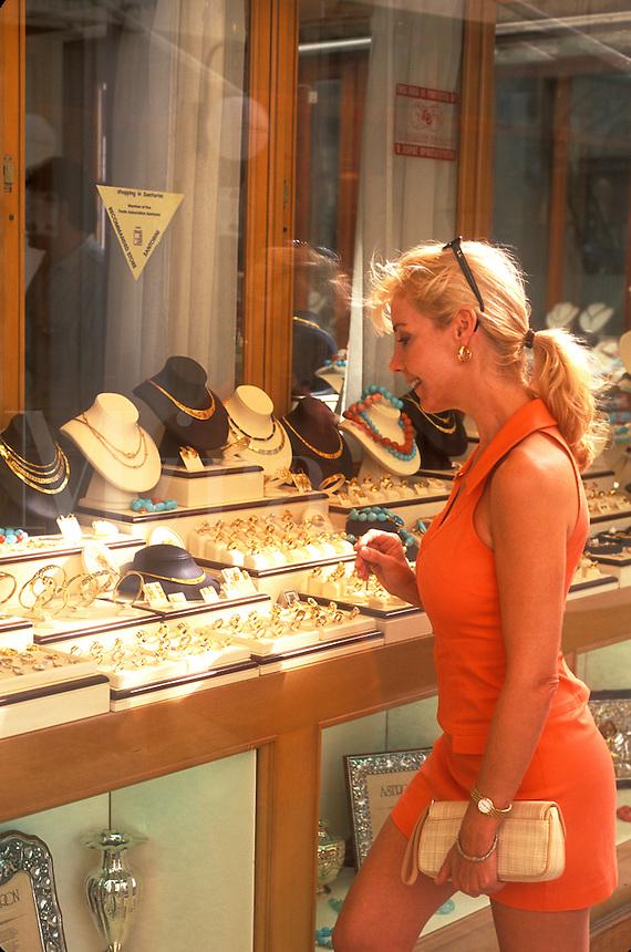 Woman Shopping for Jewelry in Santorini, Greece
