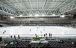 Stockholm 2014-01-10 Bandy Elitserien Hammarby IF - Sandvikens AIK :  <br />  Vy &ouml;ver bandyplanen i Tele2 Arena under uppv&auml;rmningen inf&ouml;r matchen Hammarby mot Sandviken<br /> (Foto: Kenta J&ouml;nsson) Nyckelord:  inomhus interi&ouml;r interior is