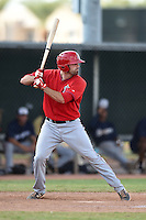 Los Angeles Angels of Anaheim catcher Brandon Gildea (12) during an Instructional League game against the Milwaukee Brewers on October 9, 2014 at Tempe Diablo Stadium Complex in Tempe, Arizona.  (Mike Janes/Four Seam Images)