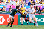 Callum Sirker of England (R) plays against Stedman Gans of South Africa (L) during the HSBC Hong Kong Sevens 2018 match between South Africa and England on April 7, 2018 in Hong Kong, Hong Kong. Photo by Marcio Rodrigo Machado / Power Sport Images