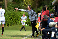 Team Wellington coach Jose Figueira gives instructions during the 2018 OFC Champions League semifinal between Auckland City FC and Team Wellington at Kiwitea St in Auckland, New Zealand on Sunday, 29 April 2018. Photo: Dave Lintott / lintottphoto.co.nz