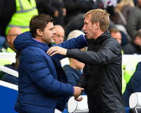 Tottenham Hotspur Manager Mauricio Pochettino left and Brighton & Hove Albion Manager Graham Potter greet each other before kick off during Brighton & Hove Albion vs Tottenham Hotspur, Premier League Football at the American Express Community Stadium on 5th October 2019