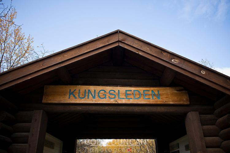 Information shelter at northern end of Kungsleden trail, Abisko, Sweden