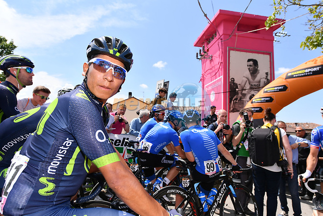 Nairo Quintana (COL) Movistar Team lines up for the start of Stage 14 of the 100th edition of the Giro d'Italia 2017, running 131km from Castellania to Oropa, Italy. 20th May 2017.<br /> Picture: LaPresse/Gian Mattia D'Alberto | Cyclefile<br /> <br /> <br /> All photos usage must carry mandatory copyright credit (&copy; Cyclefile | LaPresse/Gian Mattia D'Alberto)