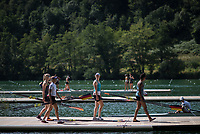Lucerne, SWITZERLAND, 12th July 2018, Thursday German women's quad, GER W4X, carry their Blade/Oars onto the boating pontoon, Activity, on the boating docks, FISA World Cup III, Lake Rotsee, © Peter SPURRIER,