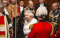 18 May 2016 - London England - Queen Elizabeth II prepares to leave State Opening of Parliament in the House of Lords in London. The State Opening of Parliament marks the formal start of the parliamentary year and the Queen's Speech sets out the government's agenda for the coming session. Photo Credit: ALPR/AdMedia