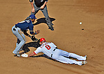 24 September 2012: Washington Nationals second baseman Danny Espinosa slides safely into second with a double in the 4th inning against the Milwaukee Brewers at Nationals Park in Washington, DC. The Nationals defeated the Brewers 12-2 in the final game of their 4-game series, splitting the series at two. Mandatory Credit: Ed Wolfstein Photo